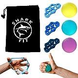 SharkFit 6er-Set Premium Fingertrainer Handtrainer Finger Stretcher Set, 3-Griffbälle + 3 Finger...
