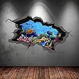 Wall Smart Designs Unterwasser gebrochenen Cave Aquarium Fisch 3D Art Wand Aufkleber jungen...