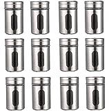 12 Gewürzstreuer Set aus Edelstahl mit Sichtfenster / Streudosen in Silber mit 80ml Vorratsgläser...