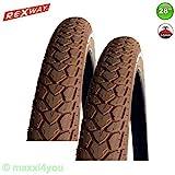 01022821B Fahrradreifen Rexway mit Pannenschutz Reflex Decke 28' 47-622 Braun (2 x Braun)