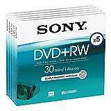 Sony - DVD+RW (rewritable) für DVD-Camcorder, 30 Minuten, 5er-Pack