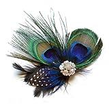 SODIAL(R)Nette Pfauenfeder Haarspange