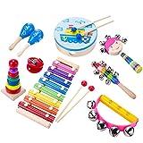 Aideal Percussion Spielzeug Kinder 9 Stück Musikinstrumente Performance Schlagzeug Schlagwerk...