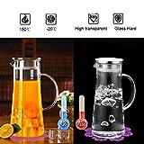 Wasserkaraffe ,BOQO1.5L Glaskaraffe, Wasserkrug mit Blütenblatt Edelstahldeckel Karaffe...