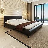 SHENGFENG Bett mit Matratze Doppelbett 180×200 cm Kunstlederbett Schwarz Polsterbett
