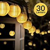 FYLINA Warmweiß Solar Lichterkette Lampion,6.5m 30 LED Solar Outdoor Laterne