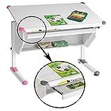 CARO-Möbel Kinderschreibtisch Schülerschreibtisch PHILIPP höhenverstellbar in weiß mit Schublade...