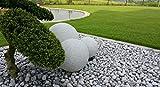 3er Set Gartenkugeln 30/40/50 cm Farbe: Granit-Optik mit jeweils 5m Outdoorkabel IP44 E27-Fassung...