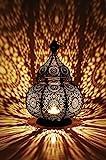 Orientalische Laterne aus Metall Ziva 30cm | orientalisches Windlicht schwarz | Marokkanische...