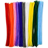 TOAOB Pfeifenreiniger 100 Stück Chenilledraht farbig sortiert Biegeplüsch für Kinder zum Basteln...