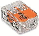 Wago 221-412 Verbindungsklemme 2 Leiter mit Betätigungshebel 0,2-4 qmm kleine Bauform, transparent,...