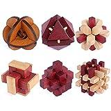 Knobelspiele Holz, Likeluk 6 Stück IQ Puzzle 3D Set Knobelspiele Geduldspiele Rätselspiele...