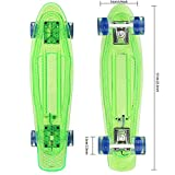 Hikole Retro 55cm Cruiser Skateboard Komplett Mini Vintage Skate Board mit LED Leuchtrollen für...