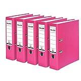 Falken PP-Color Kunststoff-Ordner 8 cm breit DIN A4 pink 5er Pack Ringordner Aktenordner Briefordner...