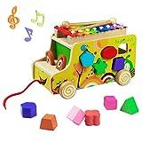 Bus Ziehen und Holz Tiere Blöcke Spielzeug mit Xylophone Stecktiere Nachziehspielzeug für Kinder...