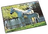 Läufer 46645 Schreibtischunterlage mit Motiv Pferd und Fohlen am See, 40x53 cm, rutschfeste...