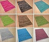 Handwebteppich Fleckerlteppich gestreift 100% Baumwolle Handweb Teppich Fleckerl Waschbar NEU...