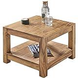Wohnling Couchtisch Massiv-Holz Akazie 60 x 60 cm Wohnzimmer-Tisch Design Landhaus-Stil...
