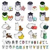 Ausstechformen Kinder Buchstaben Tiere, Round Stern Ausstechformen Set für Plätzchen, Brot, Keks,...