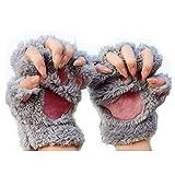 MAXGOODS 1 Paar Nette Fingerlose Pfote Plüsch Handschuhe, Katze Bär Paw, aus Künstlich Faux Pelz...
