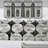 Ami Europe Set Edelstahl/Glas Gewürzstreuer mit 65x passenden Etiketten, Gewürzgläser...