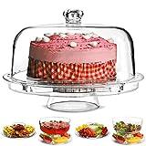 Multifunktioneller 5 in 1 Kuchenaussteller mit Abdeck-Kuppel| Kuchenkuppel, Punchschüssel,...