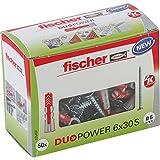 fischer DUOPOWER 6 x 30 S - Universaldübel mit Senkkopfschraube für eine Vielzahl von Baustoffen -...