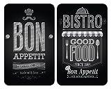 Wenko 2521483100 Herdabdeckplatte Universal Bon Appetit für alle Herdarten, Gehärtetes Glas, 2-er...