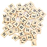 100 Stück Scrabble Buchstaben Scrabblefliesen zum Spielen | Scrabblesteine Ersatz Fliesen aus Holz...