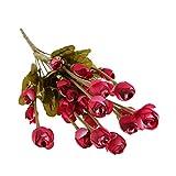 Kunst 11 Zweig Seide Herbst Rose Blühen Blumen Hause Dekor - Rot 1