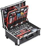 Meister Werkzeugtrolley 156-teilig ✓ Werkzeug-Set ✓ Mit Rollen ✓ Teleskophandgriff | Profi...