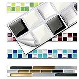 7 Stück 25,3 x 3,7 cm schwarz weiß silber Fliesenaufkleber Design 3 I Küche Bad Fliesendekor...