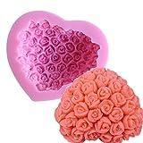 ODN 3D Herz Rose Blumen Silikonform DIY Marzipan Fondant Tortendeko Seife Form für Valentinstag...
