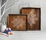 Store Indya, Set von 2 Holztablett Fruhstuck servieren Platte mit naturlichen bemalten Design Snacks...