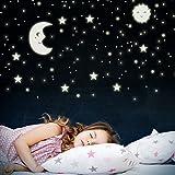 WANDKINGS Sonne, Mond und Sterne XL-Set, 114 Sticker für Sternenhimmel, extra starke Leuchtkraft,...