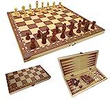 CT Schach Dame Backgammon Spielbrett 3 in 1 in Klappbox aus Holz (33,8 cm)
