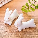 asentechuk® 5x Creative Keramik Cute Kaninchen Essstäbchen Halter Löffel Gabel Messer Halter...