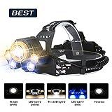 Superheller LED Stirnlampe,SGODDE LED Kopflampe mit 5 LED 8000LM mit Eingebauter Akku Kopfleuchten 5...