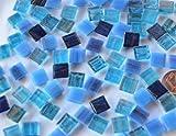 300 Stück Glas Mosaiksteine Flimmer (Goldfäden, unecht) Blaumix 1x1cm ca. 204g.