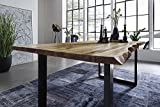 SAM® Esszimmertisch 160x85 cm Ida, echte Baumkante, massiver Esstisch aus Akazienholz, Metallbeine...