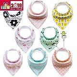 8er Baby Dreieckstuch Lätzchen Spucktuch Halstücher mit Verstellbaren Druckknöpfen...