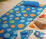 Strandmatte Strand Decke mit Kissen Sommer Wendematte Beach 80 x 180 Blau mit Muscheln*PLT5