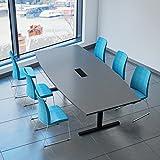 Weber Büro EASY Konferenztisch Bootsform 240x120 cm Anthrazit mit Elektrifizierung...