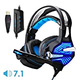 Gaming Headset USB Headset 7.1 Klinke Surround Sound Stereo PC Gaming Kopfhörer mit Mikrofon