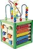 """Motorikwürfel """"Frühling"""" aus Holz, Babyspielzeug mit fünf bunten, farbenfrohen Spielflächen,..."""