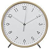 Hama Tischuhr Wanduhr aus Holz (geräuscharme Uhr ohne Ticken, 22 cm Durchmesser, Standuhr)...