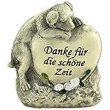 Tiergrabstein Grabschmuck Hund Gedenkstein Grabdeko 'Hund liegend auf Herzstein'