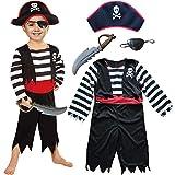 Kinder Piraten Jungen Kostüm mit Hut, Schwert, Augenklappe (104/116)