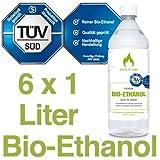 6 x 1L Bioethanol 96,6% - 6 Liter in 1L Flaschen zum handlichen & sicheren Gebrauch - TÜV geprüfte...