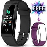 JAZIPO Fitness Armband mit Pulsmesser, Wasserdicht IP67 Fitness Tracker Farbbildschirm mit GPS...